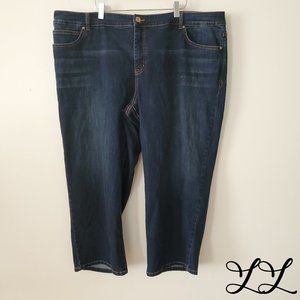 INC Woman Jeans Dark Blue Wash Skinny Leg Crop